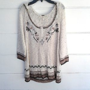 Free People White Brown Sweater Hoodie Embroidered